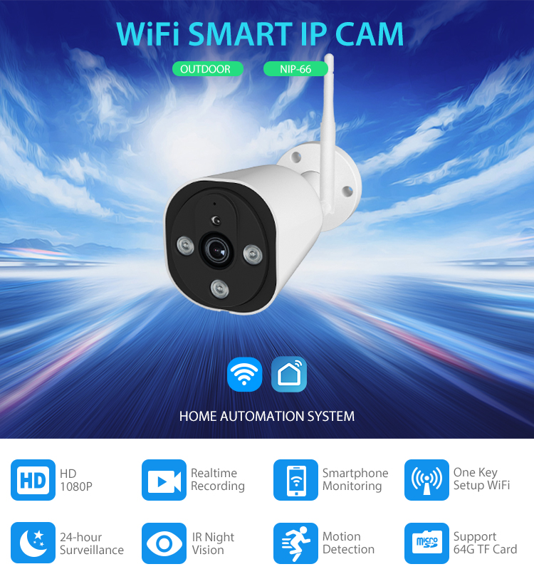 WiFi Outdoor IP Camera 1080P surveillance camera for garage home security HD waterproof camera supports Android and IOS mobile in Surveillance Cameras from Security Protection