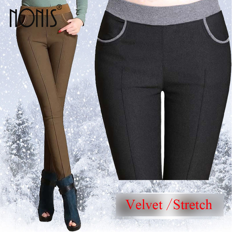 Nonis Women Casual Winter Fleece Teplé kalhoty Plus Velikost Dámské Tužky Kalhoty Velvet Winter Femme Pantalon Black Khaki Caffee