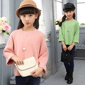 Recém-nascidos criança outono roupas mais sólida pulôver de tricô casaco camisola colar fashion girl WER10