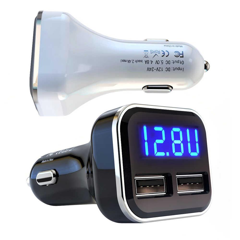 شاحن هاتف السيارة LED مراقبة الجهد 4.8A سريع الهاتف الذكي USB شواحن العرض الحالي بنك الطاقة carregador المحمولة