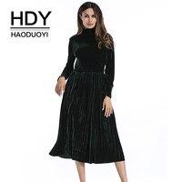 HDY Haoduoyi Women Velvet Dress Green Full Sleeve Long Dresses Flannel Solid Black Elegant Turleneck Pleated Vestidos New Spring