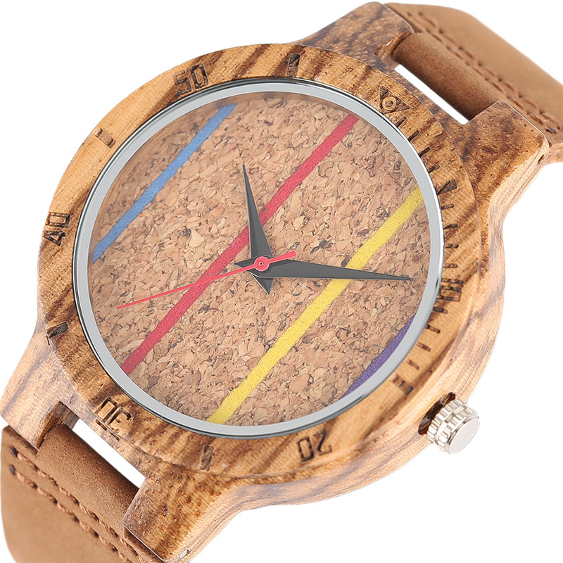 Handmade Nobby Rainbow Stripes Wood Watches Man Nature Bamboo Casual Quartz Wristwatch Genuine Leather Strap Sport Creative Gift mens creative wooden watch bamboo handmade genuine leather band strap analog quartz wood wristwatch gift