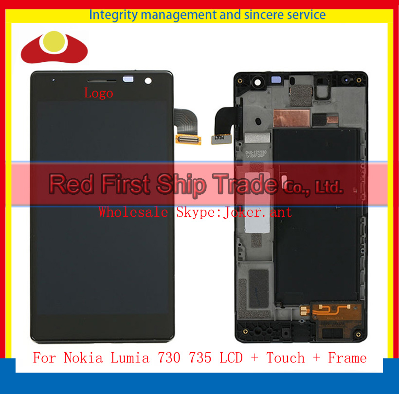 High Quality For Nokia Lumia 730 735 Full LCD Display Touch Screen Digitizer Sensor Assembly Complete With Frame Free Shipping 5 pcs free dhl ems shipping replacement lcd display with touch screen digitizer frame for nokia lumia 730 735 lcd assembly tools