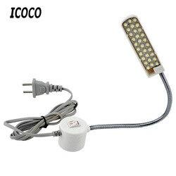Máquina de costura portátil icoco luz led 2 w 30led base de montagem magnética gooseneck lâmpada para toda a máquina de costura iluminação