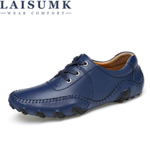 LAISUMK Mens Casual Shoes Handmade Split Leather Lace Up italian Style Blue Men Footwear Top Quality Man Driving Big Size