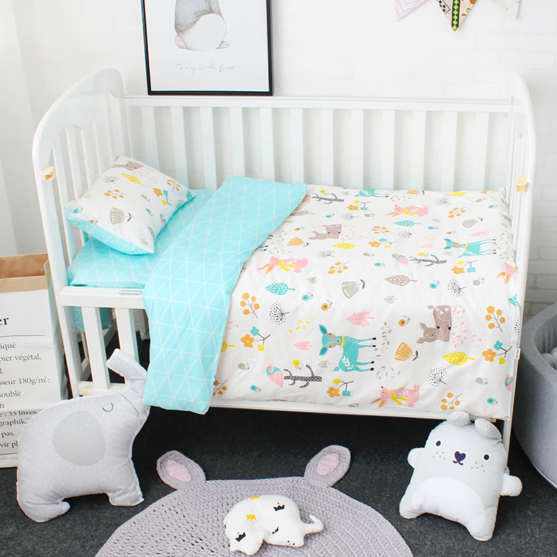 3 pcs set Baby Bedding Set Including Duvet Cover Pillowcase Bed Sheet Pure Cotton Baby Linen Baby Crib Set For Both Girl and Boy la mer collections lmhcw2005a