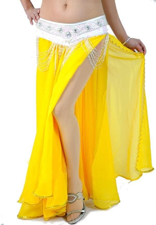 Модные/Горячие Новые Сексуальные костюмы для танца живота юбка bead edge 2 слоя с 2-сторонняя юбка-макси 10 цветов - Цвет: Yellow