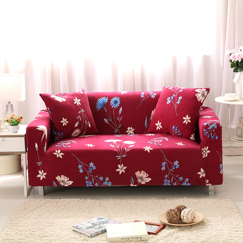 Red flower print corner sofa cover for living room multi - What size couch for my living room ...