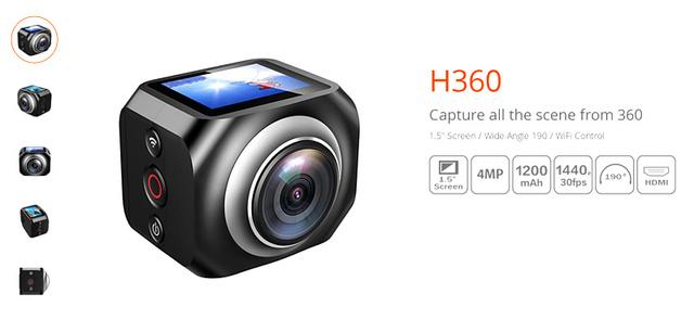 Winait Wifi Câmeras de Vídeo Câmeras VR360 H360 1440 P Portátil Mini Câmeras 360 Graus VR Wi-fi Câmera de Esportes de Ação