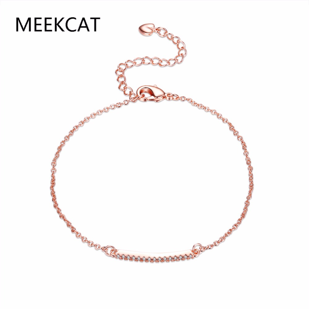 MEEKCAT Charm Bar Slider Bracelets For Women Brilliant Pave Zirconia CZ Adjustable Rose Gold Color Chain Fashion Jewelry