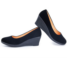 New Women's Wedge Shoes Spring Autumn Flock Soft Pumps Slip