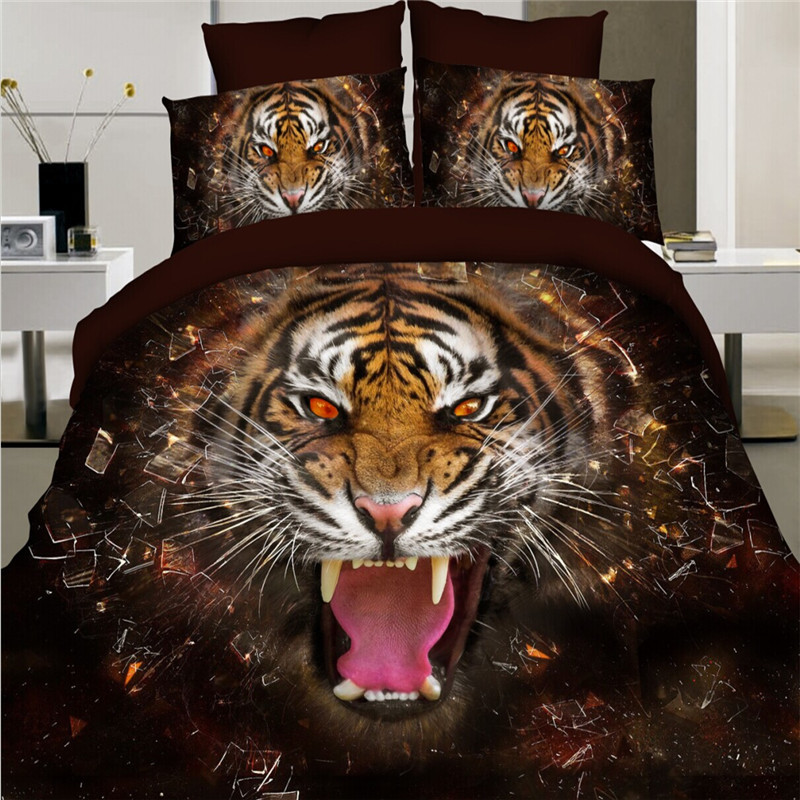 Stereo Oil Painting Animals Tiger Lion Bedding Set Painting 3D Vivid Duvet Cover Quality Twill Cool Bed Set Multi Sizes 4pcs