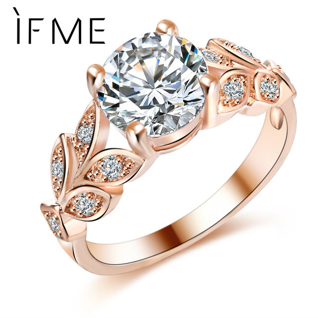 IF ME Wedding Crystal Silver Color Rings Leaf Engagement Gold Color Cubic Zircon