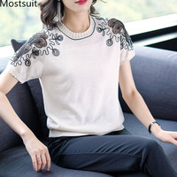 2019 Summer Knitted Lace Korean Ol Tshirts Tops Women Short Sleeve O neck Hollow Casual Elegant T Shirts Pullovers Black Beige