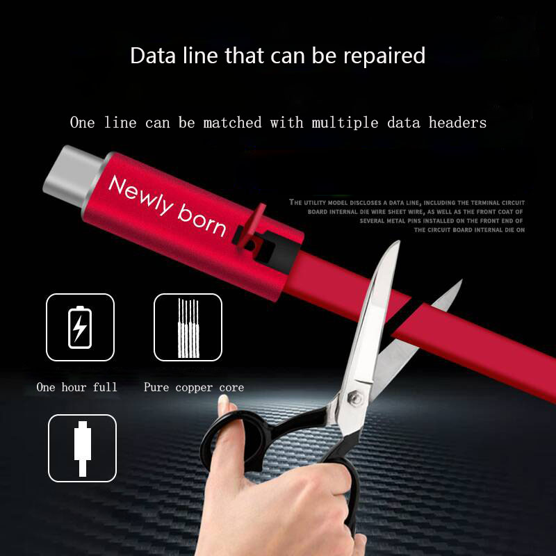 Data Line Mobile Phone Cable Mobile Phone Charger Mobile Phone Flex Cable Power Cable Usb Single Head Can Cut Off The Repairable
