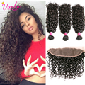 8A Wet And Wavy Brazilian Water Wave Virgin Hair With Closure Water Culy 3 Bundles With Frontal Natural Hair Weave With Closure