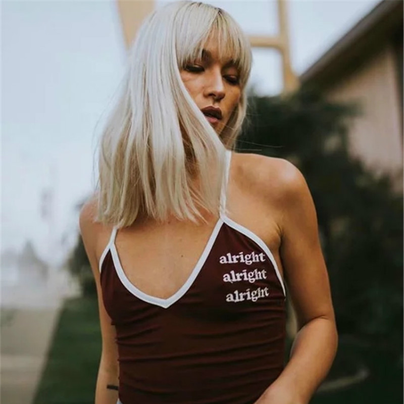 2018 Sexy Bodysuits for Women Spaghetti Strap Sleeveless Beach Wear V Neck Casual Design Red Color with Letter Print