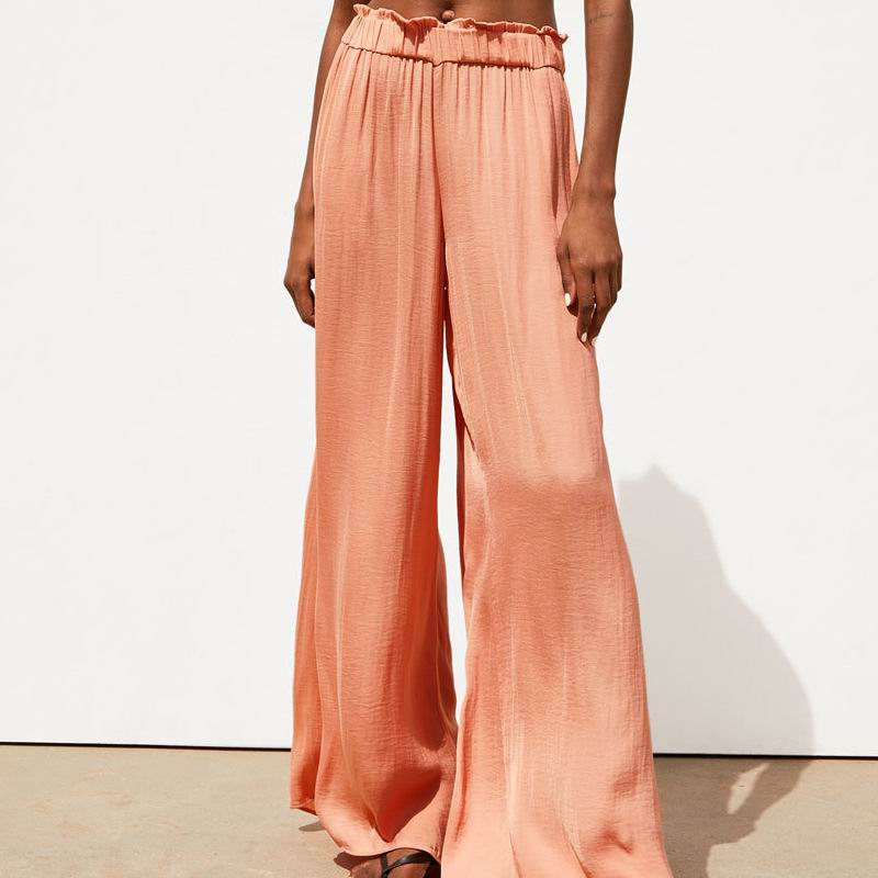 Wide     Leg     Pant   Women Summer 2019 New Fashion Satin Material Elastic High Waist Casual Bottom Modern Lady Long Loose   Pants