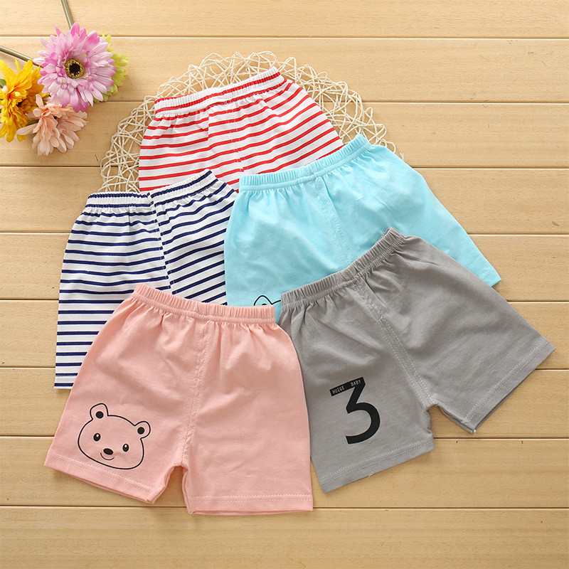 Summer Kids Clothing Baby   Shorts   Children Cotton Candy Color Soft Baby Boys And Girl   Shorts   Blue Pink Stripe Cartoon   Shorts