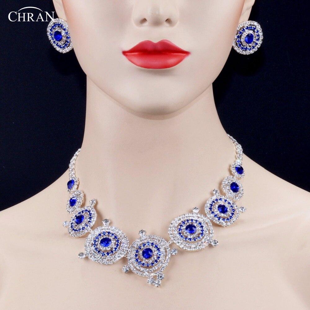 CHRAN Lấp Lánh Rhinestone Xanh Pha Lê Choker Necklace Earrings Bạc Bộ Trang Sức Cưới Bling Wedding Party Phụ Kiện Thiết Lập