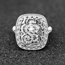 Huitan Romantic Button Ring For Women Classic Traditional Wedding Engagement Band Shiny Tiny Crystal  Lots&Bulk