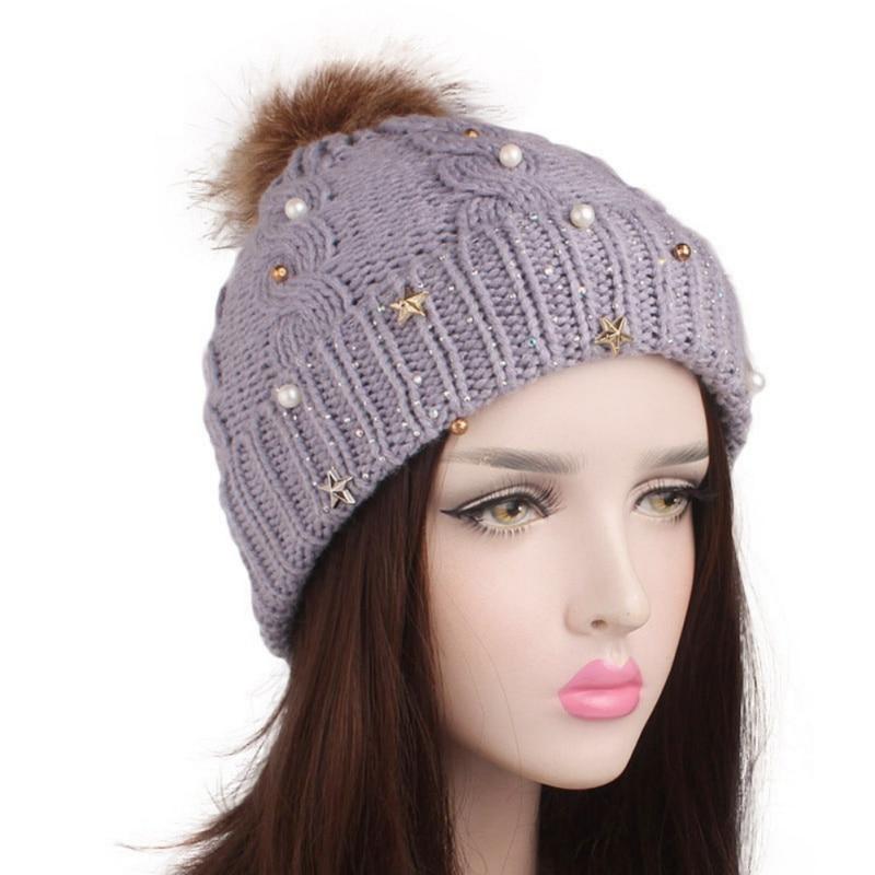 Women   Beanies   Cap Lady   Skullies     Beanies   Caddice Handmade Rhinestone Star Decorative Artificial Fur Ball Soft Hat Headwear