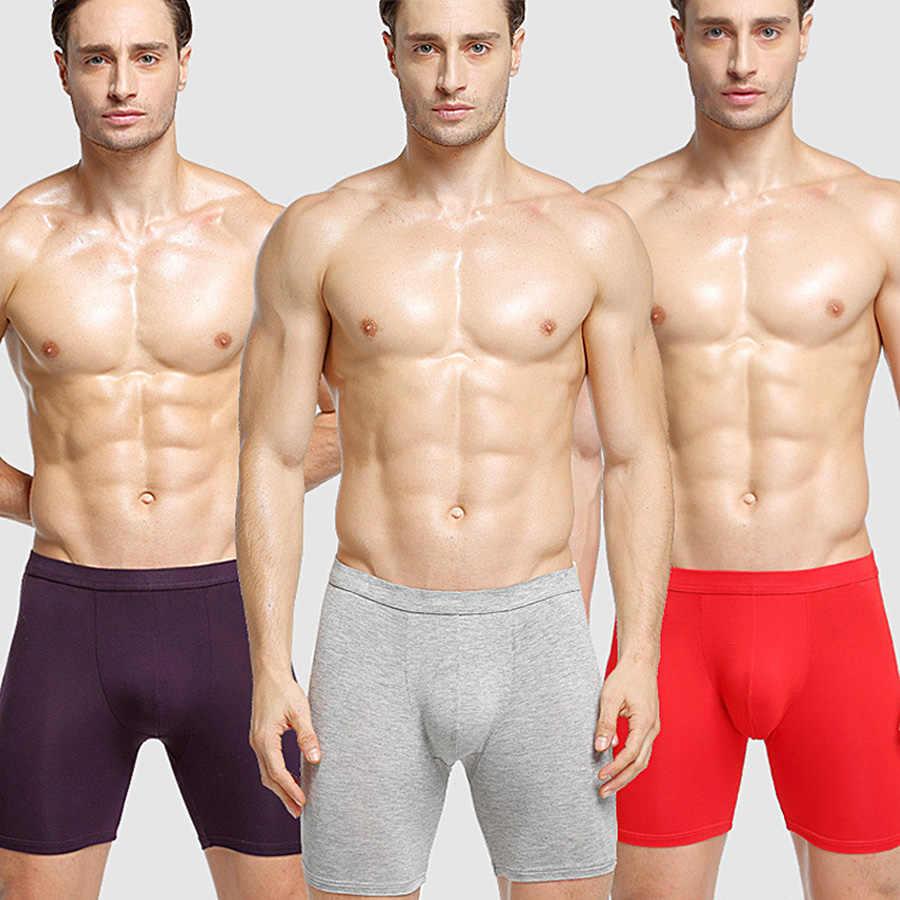 Erkek iç çamaşırı, süper uzun spor pantolon büyük boy koşu spor genç boksörler satış, rahat nefes yüksek kaliteli altında