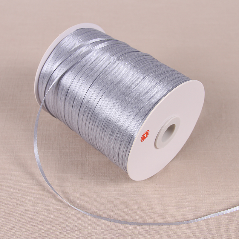 3 мм атласные ленты 22 м/лот DIY ручной работы товары для украшения свадьбы, дня рождения Подарочная упаковка белые ленты - Цвет: Silvery Gray