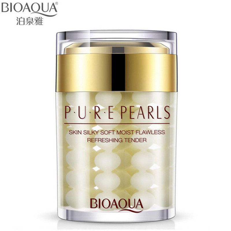 BIOAQUA 60ML Brand Pure Pearl Essence Face Cream Deep Moisturizing Skin Care Anti Wrinkle Face Care Whitening Essence Cream 60g brand bioaqua silk protein deep moisturizing face cream shrink pores skin care anti wrinkle cream face care whitening cream page 6
