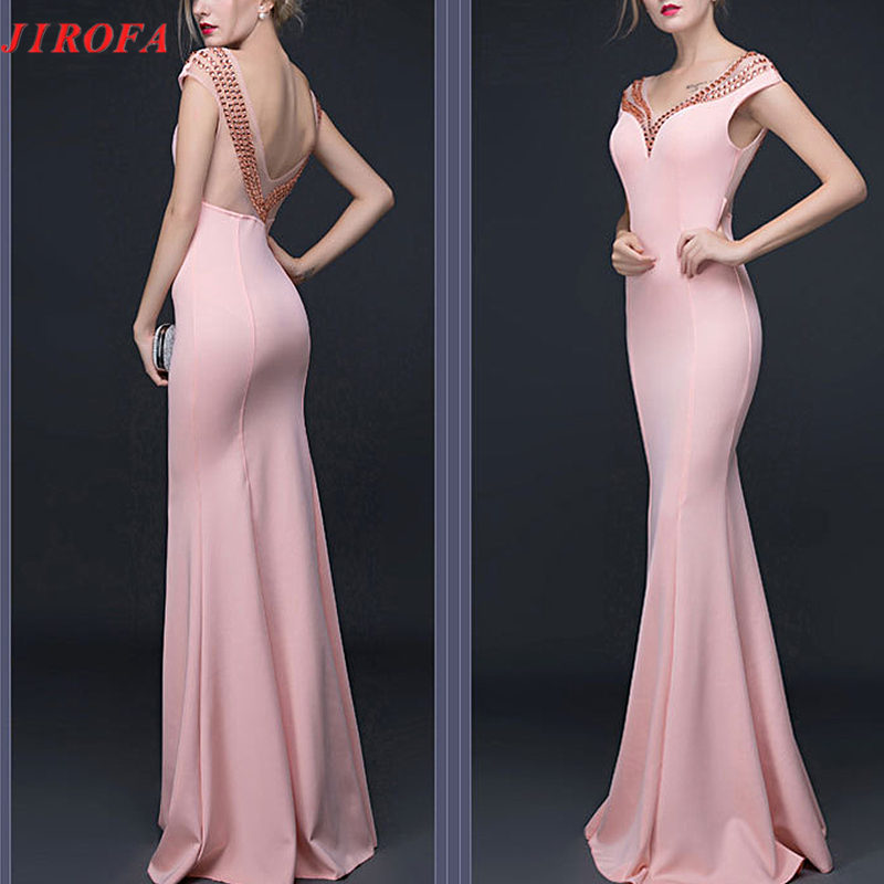 Summer Dress Women Vestidos Verano 2019 Formal Maxi Long Dress with Diomands Elegant Deep V Backless