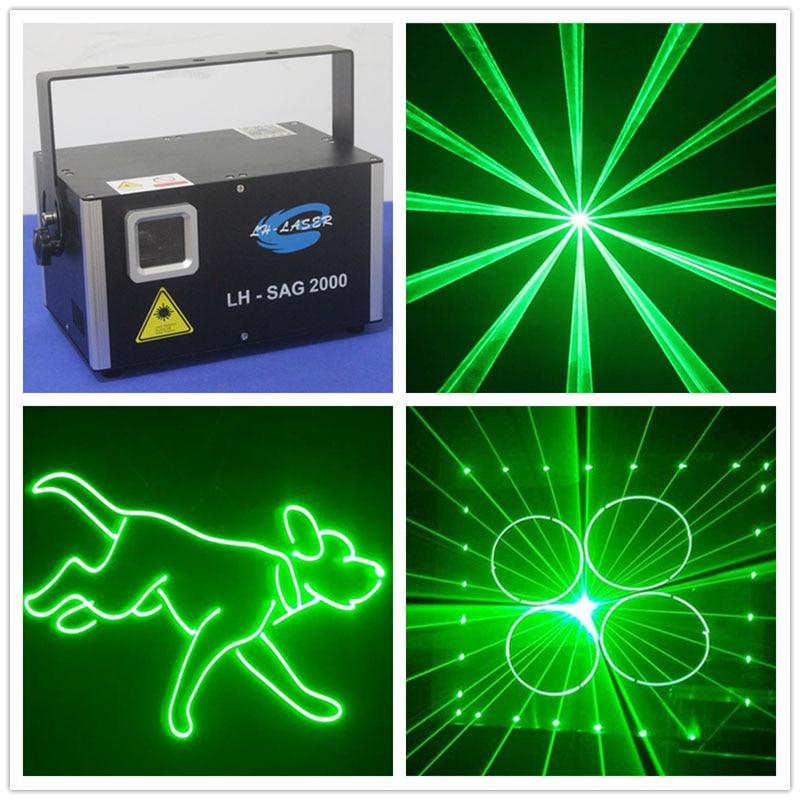 Livraison gratuite Logo vert spectacle Dj Disco spectacle, DMX ILDA 2W unique vert avec carte SD scène Dj Laser éclairage spectacle