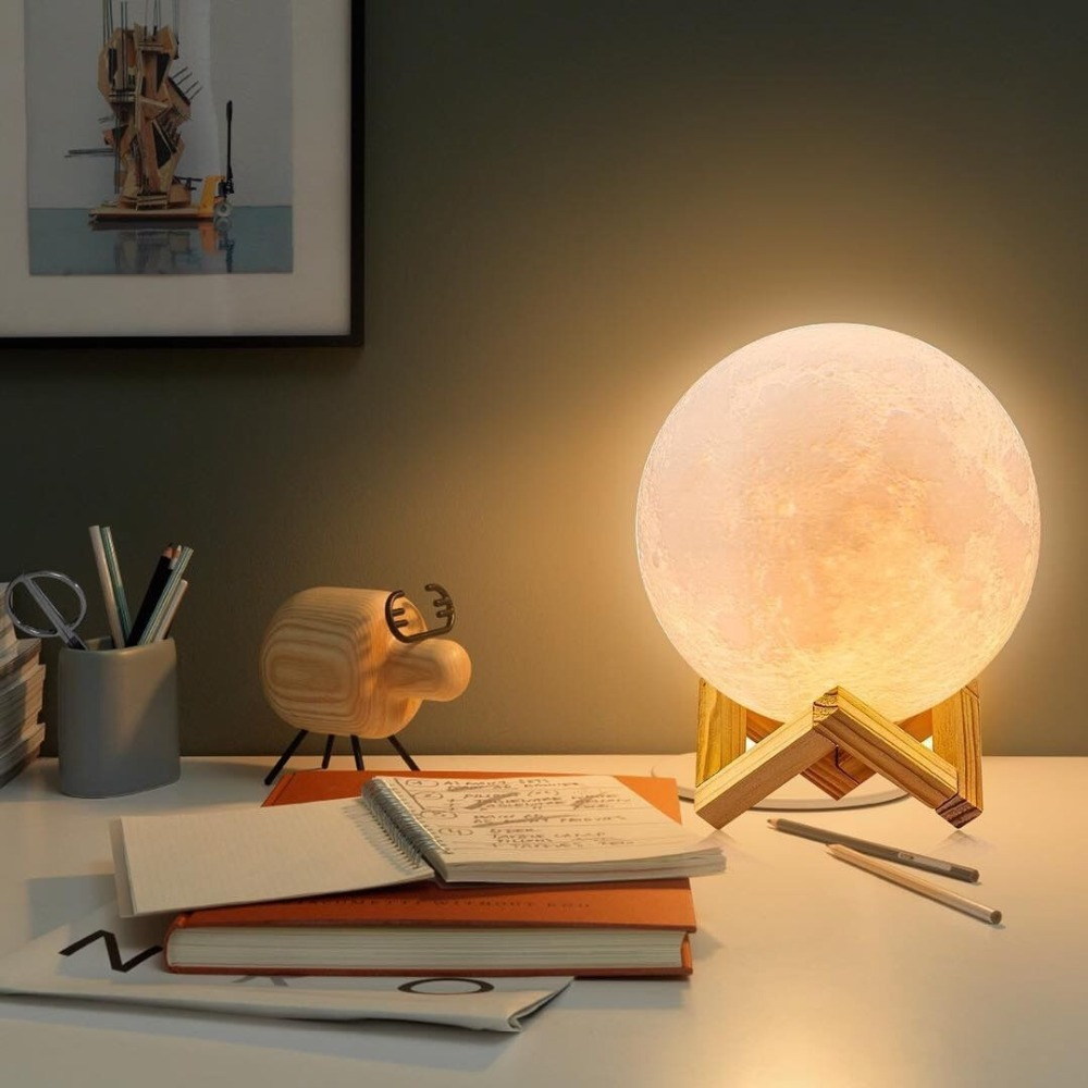 Rechargeable 3D Print Moon Lamp with LED Light For Bedroom Decoration 16