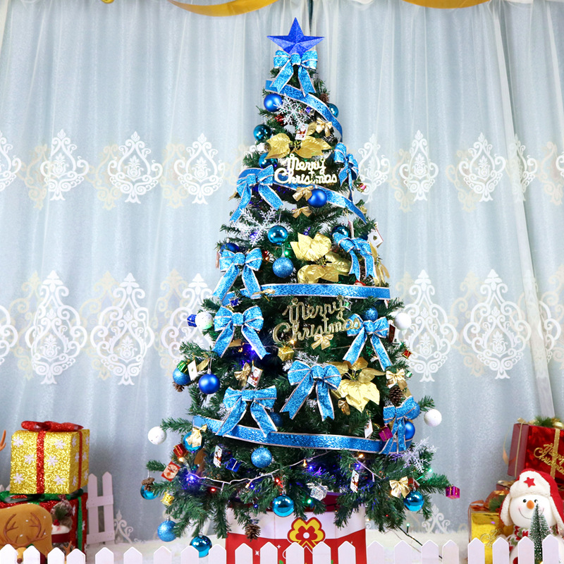 2.1 m arbre de noël ensemble grand luxe cryptage vert costume décoration de noël hôtel centre commercial disposition arbre de noël ornements cadeaux - 3