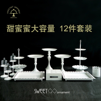 12 Pieces Cake Stand White Metal Wedding Cake Tools Cupcake Decoration Tray For Party Event Dessert