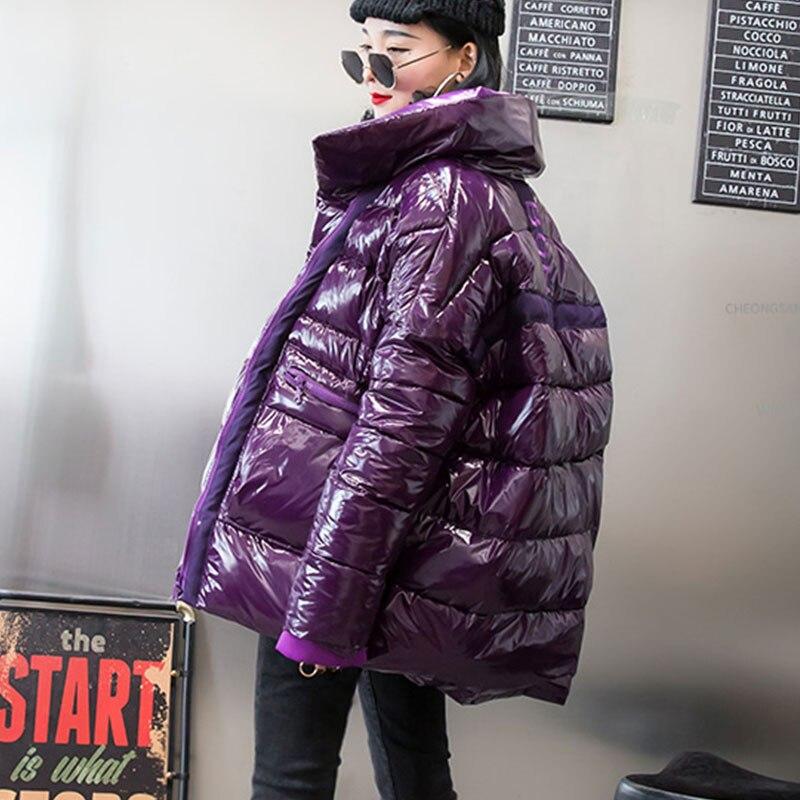 Winter Jacket Women Bright Short Down parka Basic Coat New Student Bread Street Clothing Warm Down Jacket Coat Cotton Ouywear 76-in Parkas from Women's Clothing    3