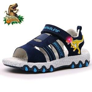 Dinoskulls Summer Shoes Kids LED Light Up Baby Boys Sandals 3D Dinosaur Anti-Slip Children's Beach Shoes 2019 Toddler Shoes
