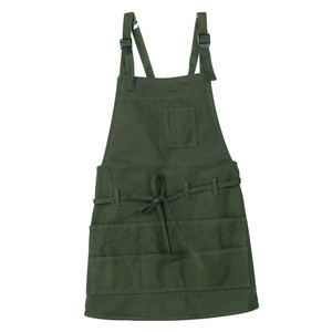 Image 3 - 1 pcs Army Green Painting Apron Ladies Latest Cooking Pocket Canvas Apron Artist Sleeveless Oil Painting Work Anti fouling Bib
