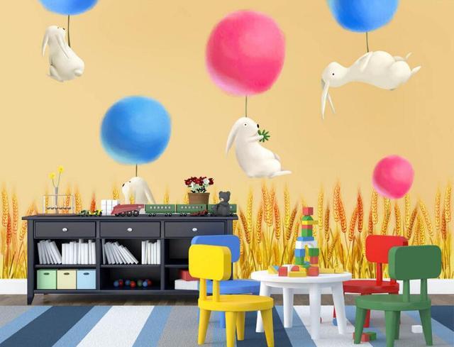 Custom 3d wall murals wallpaperHand drawn cartoon white rabbit