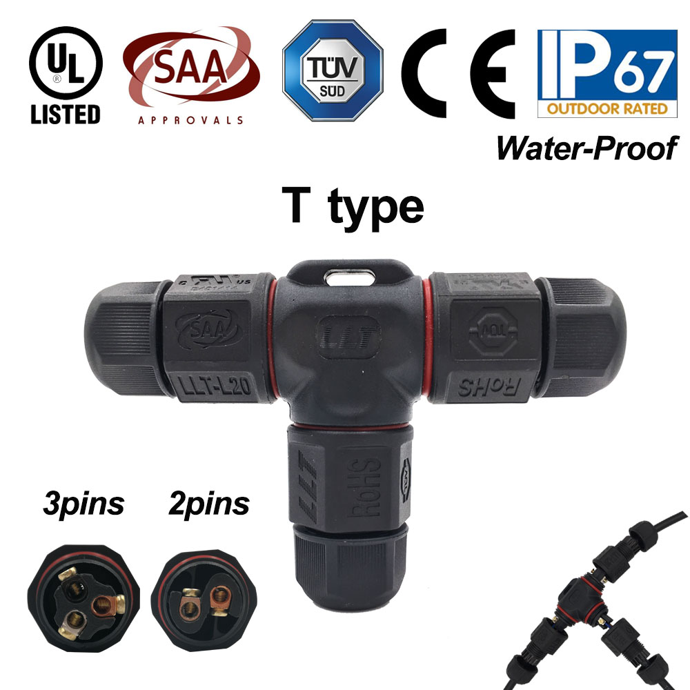 Image 4 - 10pcs 2 3 Pin L20 Waterproof Connector wire 15A 300V cable connector Waterproof Electrical Terminal waterproof cable Adapter-in Connectors from Lights & Lighting