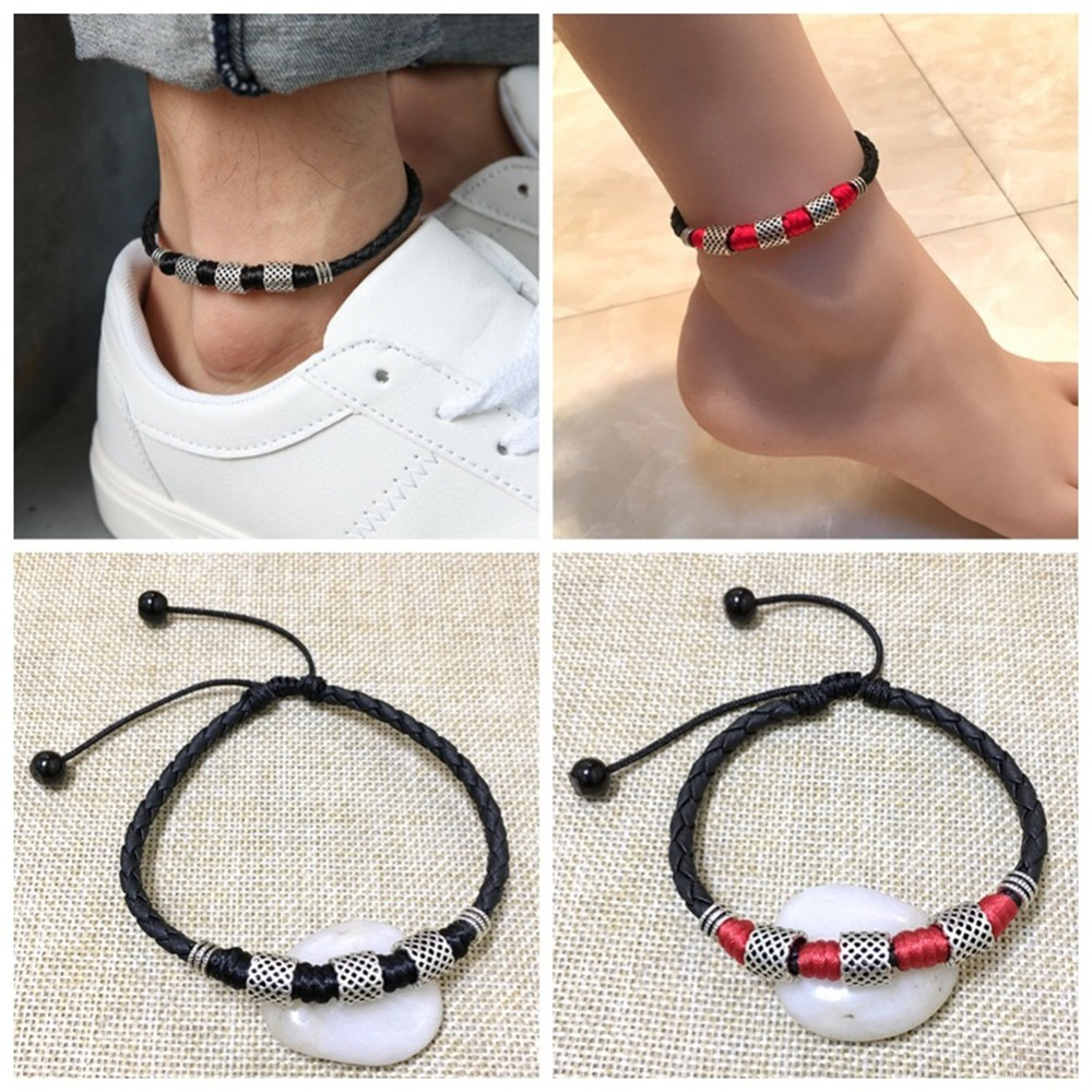 Personality Leather Rope Chain Handmade Ankles Bracelet Black Bead Chain Anklet For Women Men Jewelry