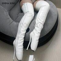 Изготовленные на заказ балетки на высоком каблуке выше колена, сапоги на шпильках 18 см, эластичные сапоги из лакированной кожи, женская обув
