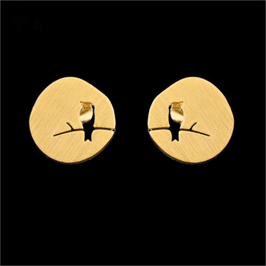 Rose Gold Boja Bird On Branch Naušnica za žene Prijateljstvo Pokloni Stainless Steel Ear Studs Animal Aros Earing Modni nakit