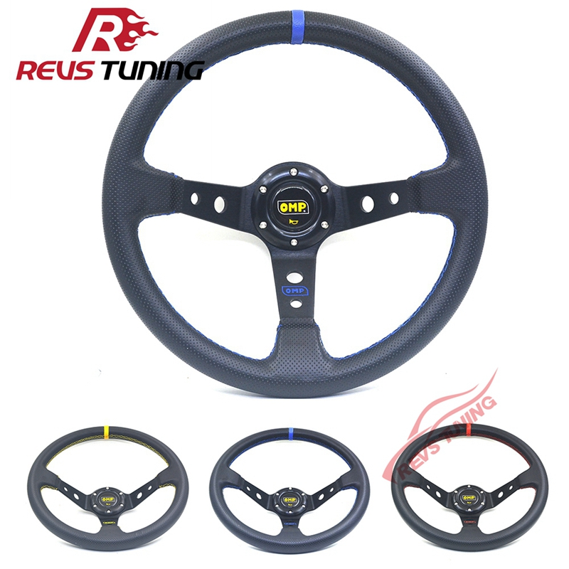 High Quality 350mm 14 Blue Line Car Tuning Omp Racing Sport Steering Wheel