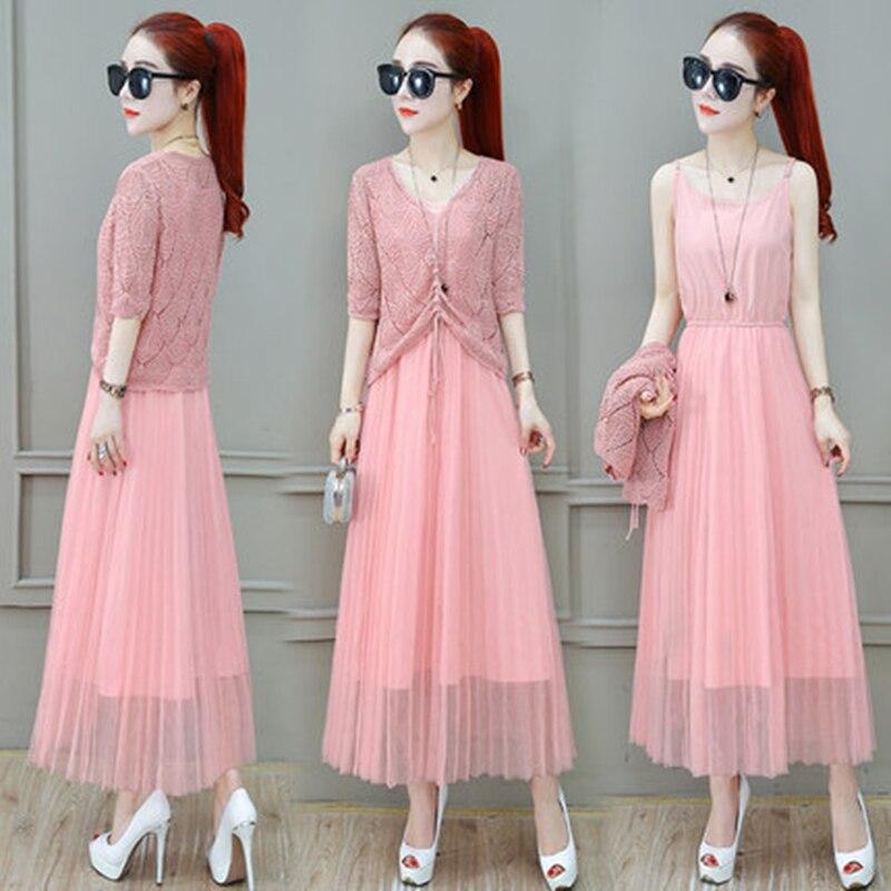 Women Suits Casual Clothing Sets Crop Top Fold Tulle dress Blouse 2 Piece Dress Sets Summer Dress Suit Twin Sets Plus Size 2