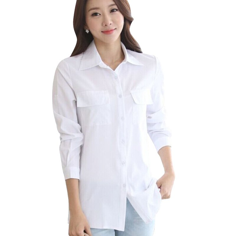 Weixinbuy Store Korean Style Ladies Solid Elegant Blusas Long Sleeve OL Office Shirt White Women Long Blouse