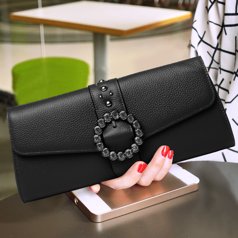 Fashion Lady Soft Cow Leather Day Clutches Party Cover Solid Color Small Envelope Bag New Travel Messenger Shoulder Bags herald fashion quality women day clutches female leather shoulder bag vintage solid envelope lady s messenger bag crossbody bag