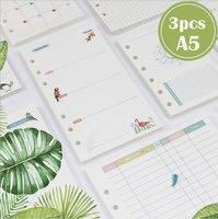 3 pcs A5 Dilosbu filler papers papel colorido dentro plano mensal lista de tarefas linha dot notebook laticínios 6 buraco loose-leaf interior núcleo