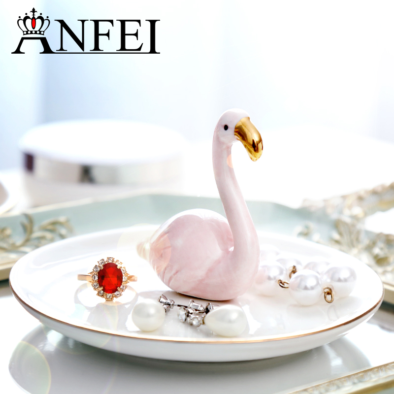 ANFEI New Jewelry Display With Ceramics Material Jewelry Organizer Cosmetics Organizing Trays Unicorn Royal Style Ceramics C218