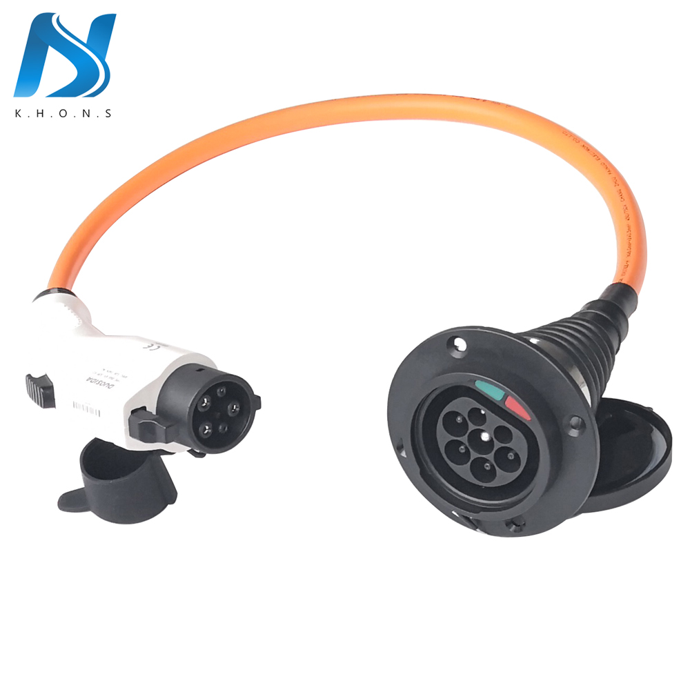 32A Single Phase Electric Vehicle Car EV Charger SAE J1772 Socket Type 1 To Type 2 EV Car Adapter Charging Plug 1.64Ft Cable