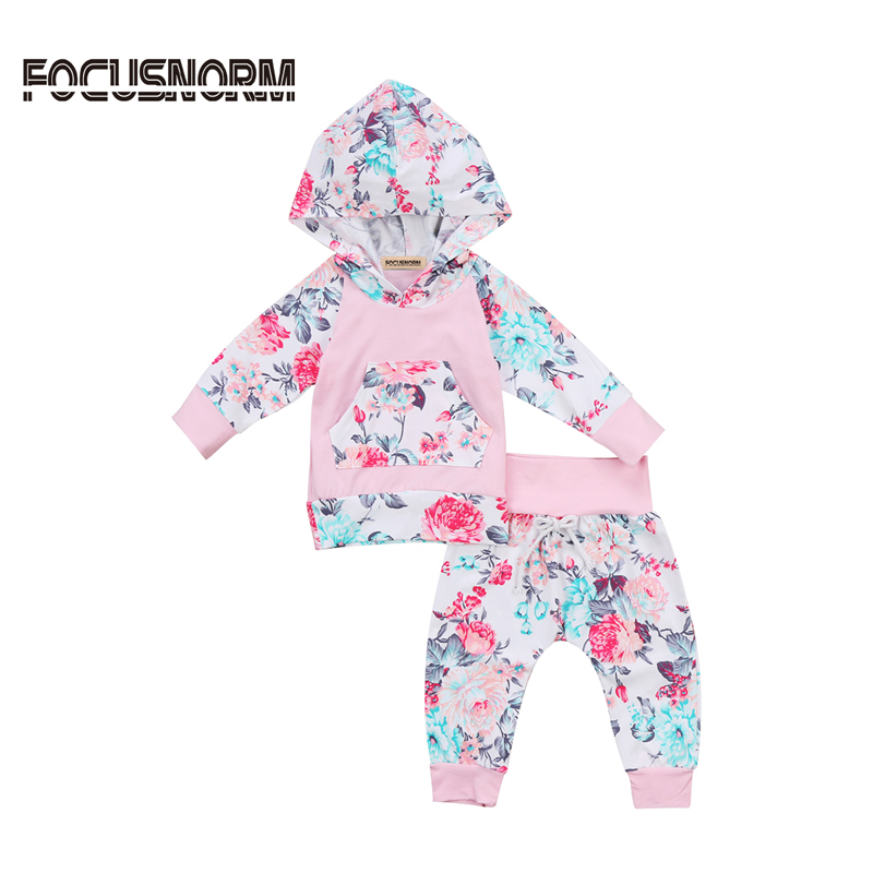 Casual Newborn Baby Girl Clothes Floral Long Sleeve Hooded Tops Long Pants 2Pcs Outfits Set Clothes 0-24M